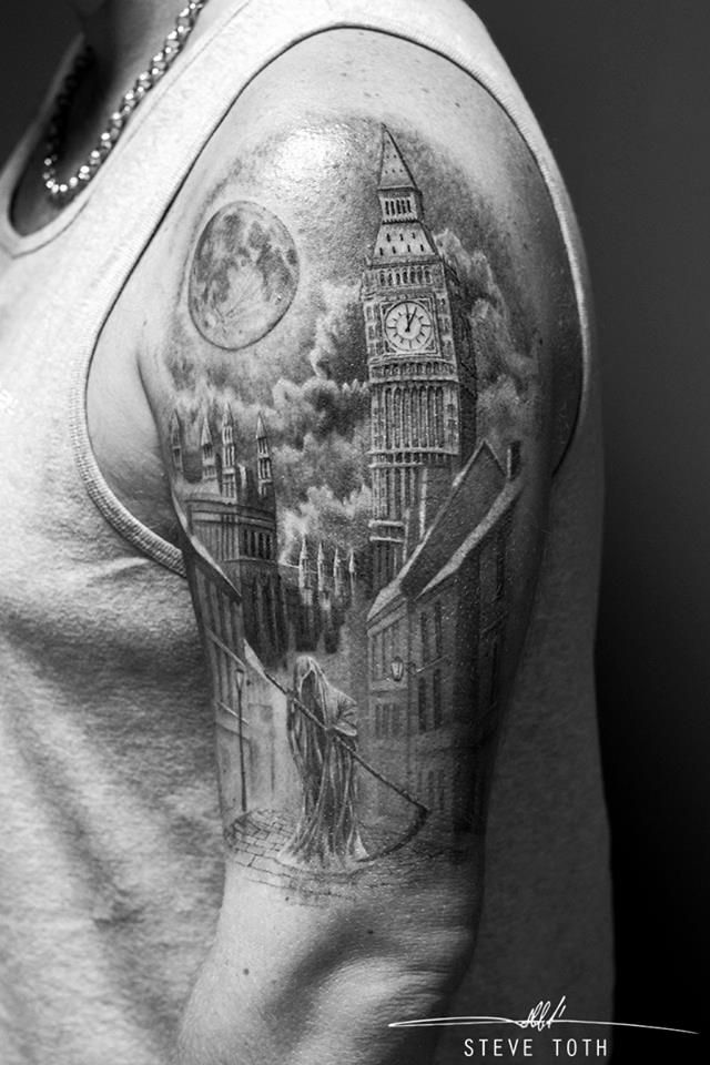 Grim Reaper and London Skyline Tattoo To see Steve's portfolio please visit https://www.monumentalink.co.uk/steve-toth-tattoo-artist/