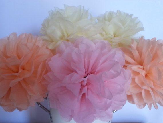 Tissue Paper Pom Flowers  Set of 8  by PomGarden on Etsy
