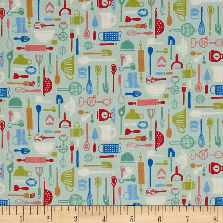 Retro Bake Utensils Teal from @fabricdotcom  Designed by The Henley Studio for Andover/Makower UK Fabrics, this cotton print fabric is perfect for quilting, apparel and home decor accents. Colors include teal, royal, olive, pink and red.