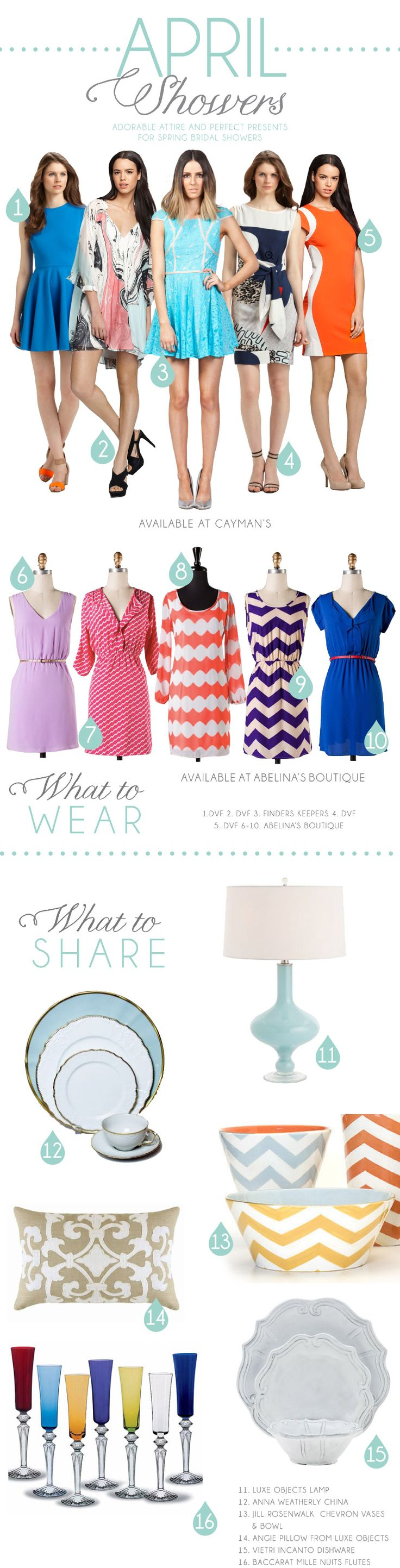 April Showers | Adorable attire and perfect presents for spring bridal showers. #wedding #bridalshower #gift #dress #dinnerware