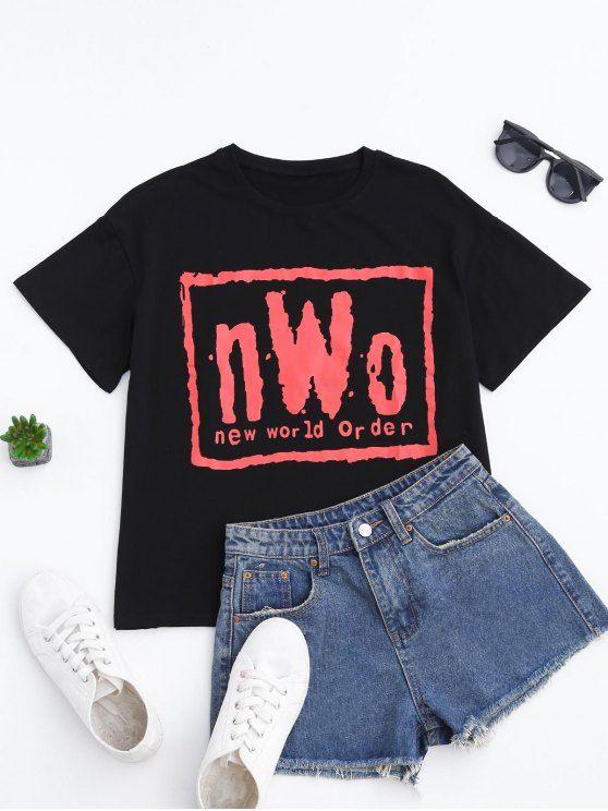 Short Sleeve Letter T-Shirt - BLACK M