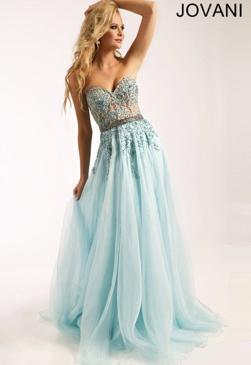 Stunning Cinderella light blue prom dress 2015 by Jovani, featuring beaded strapless bodice and waist with long flowy skirt