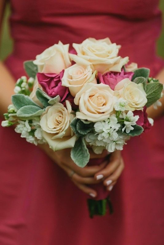 Events in Bloom - Houston Florists - Shades of pink and sage green bouquet with raspberry bridesmaid dress