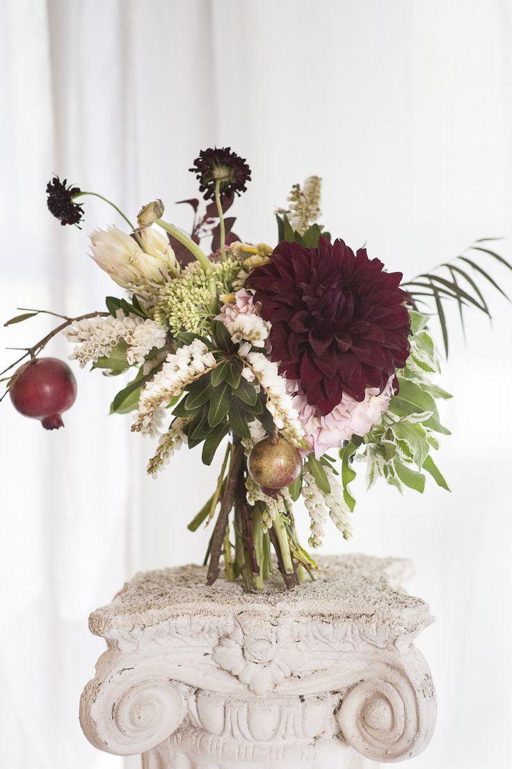 Rosegolden Flowers / Holly Carlisle Photography ... bouquet for a geisha...dahlias, pieres, pomegranate, snow on the mountain, sedum, blushing bride protea, scabiosa, ranunculus, cotinus, coxcomb, agonis, etc.