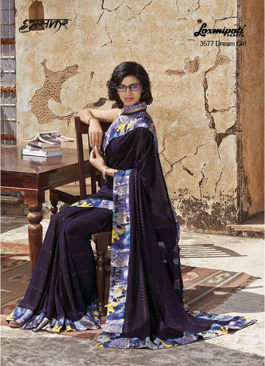 Radiate an aura of Freshness and beauty by draping this Stunning Brown Colour Georgette Saree with Diamond work and Geometric Printed & Porch Printed Lace added to its beauty. It comes with Pashmina Block Printed Mustard and Green Coloured Blouse.