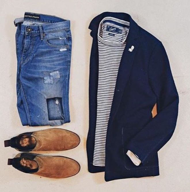 Blue striped shirt with navy blazer, jeans, and blundstones
