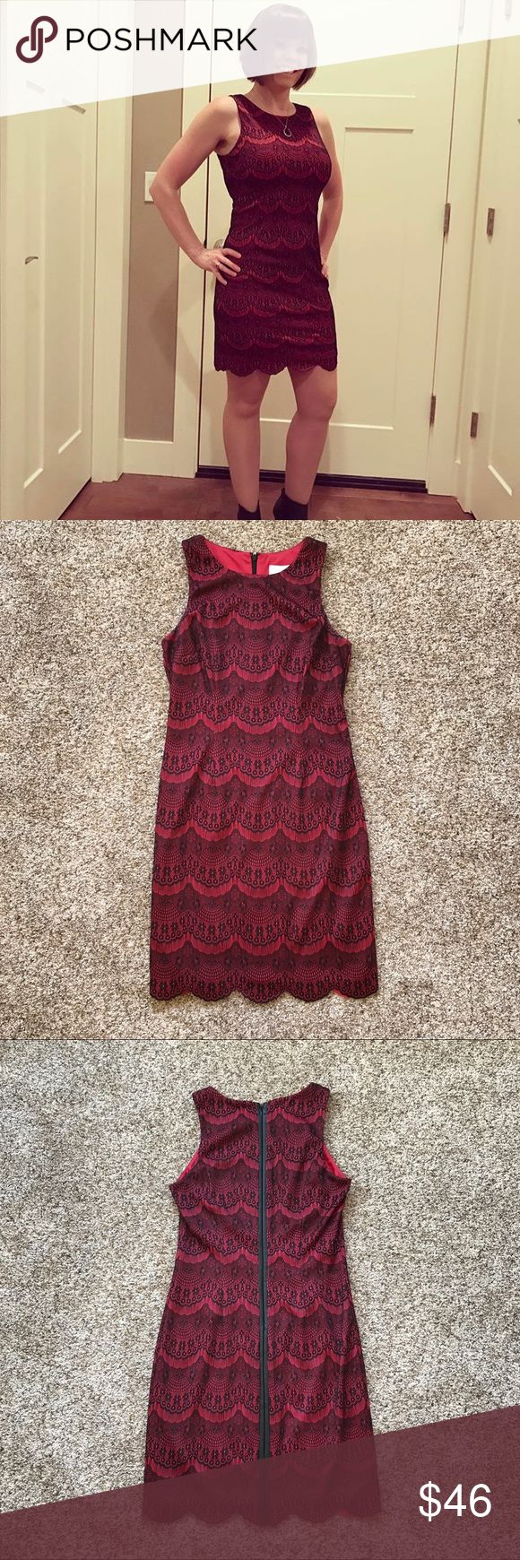 Jessica Simpson Red Black Mock Lace Dress Jessica Simpson Red and Black Mock Floral Lace Dress. The zipper appears to be the entire back, but it's only the top half of the stripe. Size 4. In excellent condition, worn once. Jessica Simpson Dresses Mini