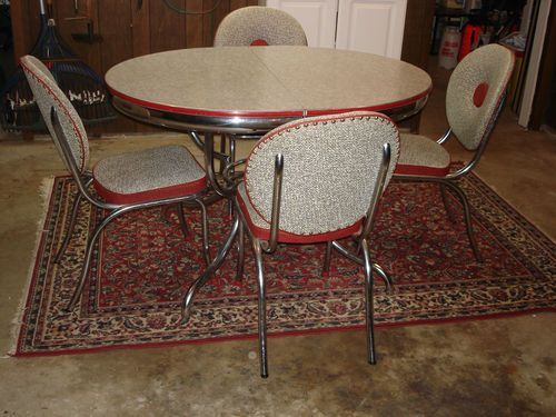 vintage mid century modern retro chrome dinette set table chairs red and grey vintage chairs. Black Bedroom Furniture Sets. Home Design Ideas