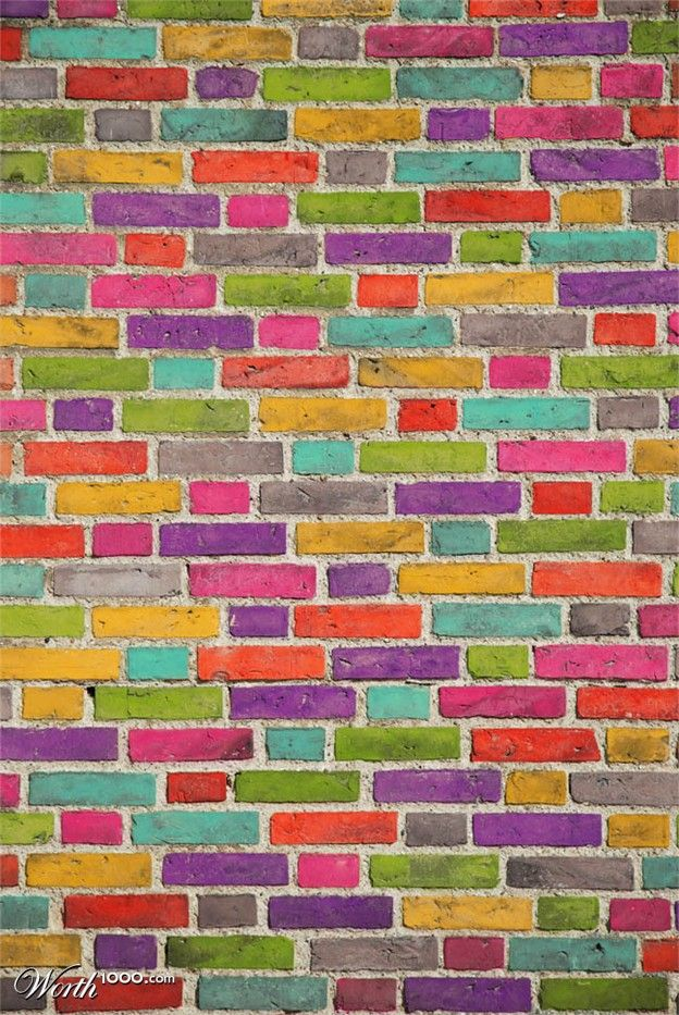Colorful bricks! The saying 'talking to a brick wall' now has a colorful new image for me! kn
