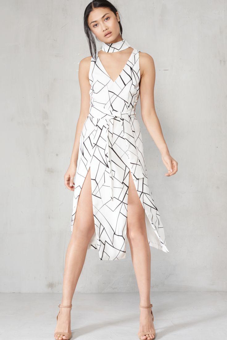 Lavish Alice Monochrome Cracked Abstract Print Keyhole Tie Belt Double Split Midi Dress - Clothing from Lavish Alice UK