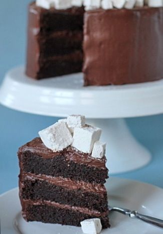 Hot Chocolate Layer Cake with Homemade Marshmallows | Cake Occassions ...
