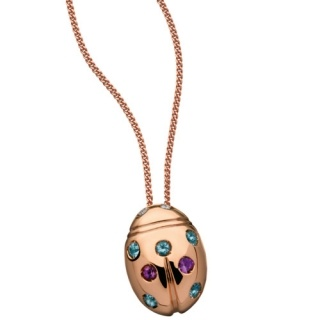 Ladies' Necklace in 18Kt Rose Gold  with diamonds,  blue topaz, amethystes by Flores Gioielli Personal Jewels