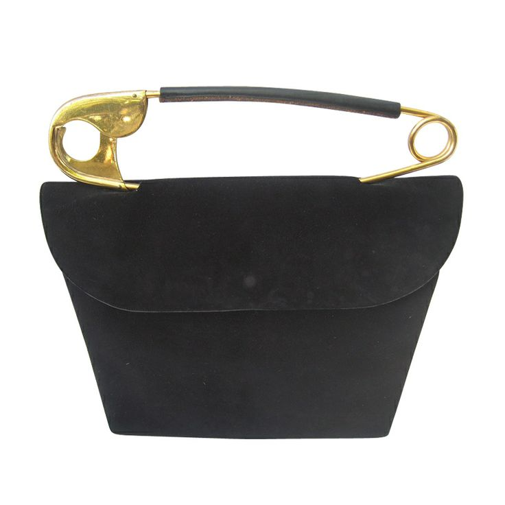 """1950's """"Original"""" Safety Pin Handle Suede Bag by Koret 