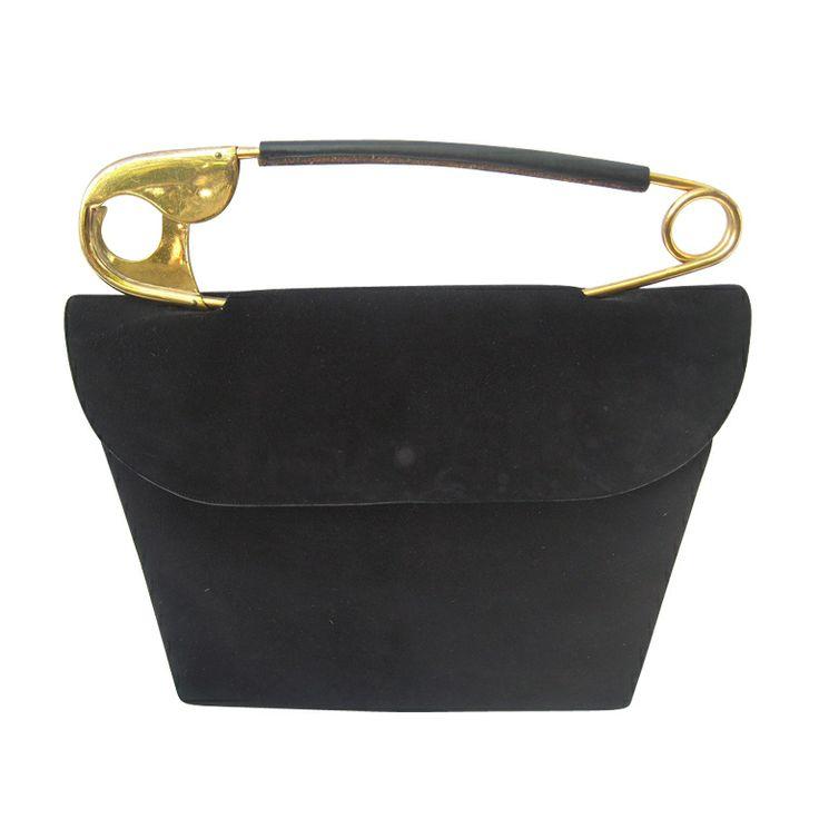 "1950's ""Original"" Safety Pin Handle Suede Bag by Koret via TORSO Vintages.  Found in all Vintage Handbag Collectors Handbooks.  Fabulous!"