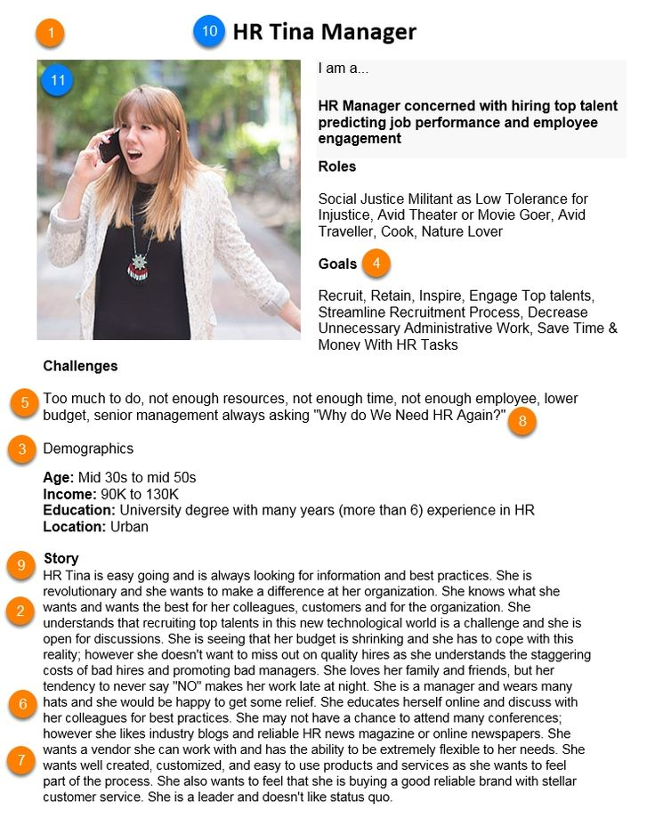 HR Tina Manager | Persona Example from HubSpot