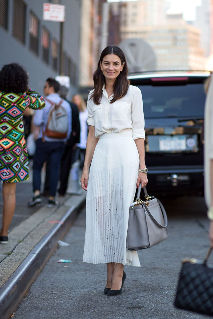 White button down collared shirt with pockets + pleated sheer white midi skirt