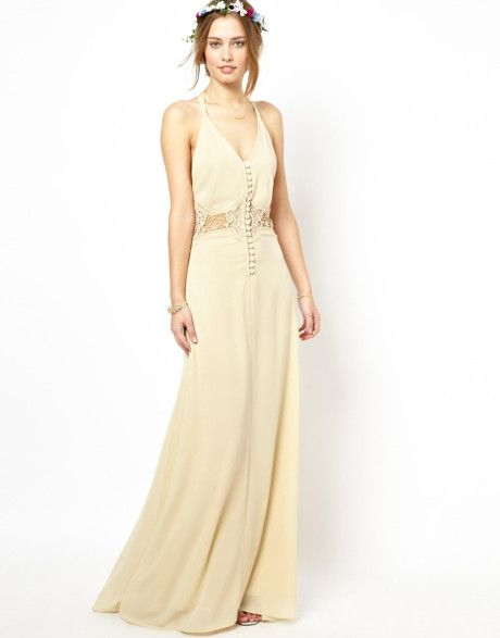 Jarlo Beige Cami Strap Maxi Dress with Lace Insert