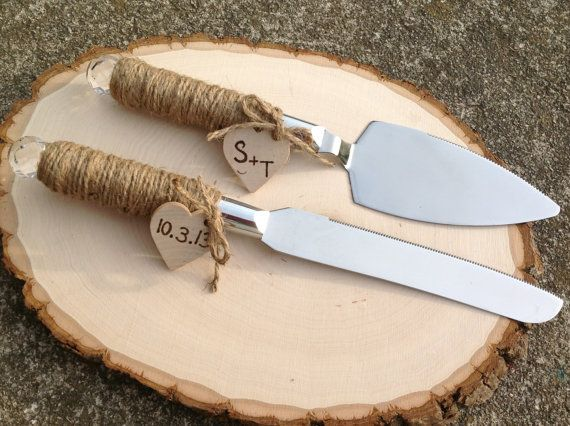 Rustic Cake Server & Knife Set with Personalized Hearts Country Chic Wedding on Etsy, $32.00