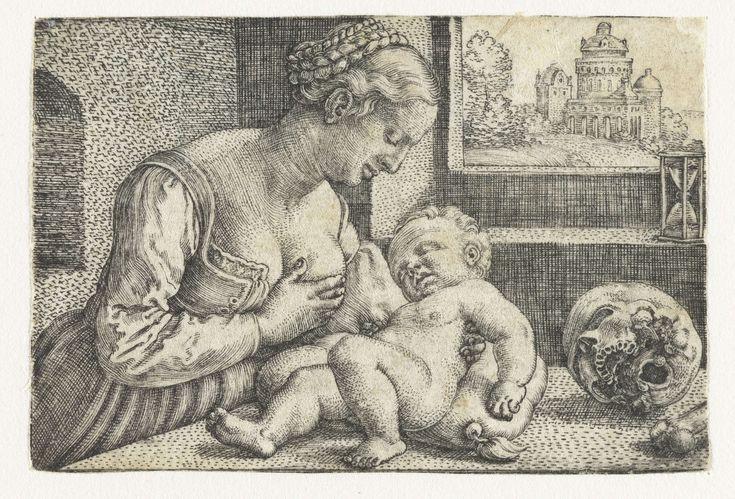 Barthel Beham | Maria met kind aan borst en schedel, Barthel Beham, 1512 - 1540 | Maria is weergegeven als een jonge moeder die haar kind de borst geeft. Twee vanitas symbolen contrasteren met dit jonge leven: op tafel ligt een schedel en voor het raam met een vergezicht staat een zandloper.