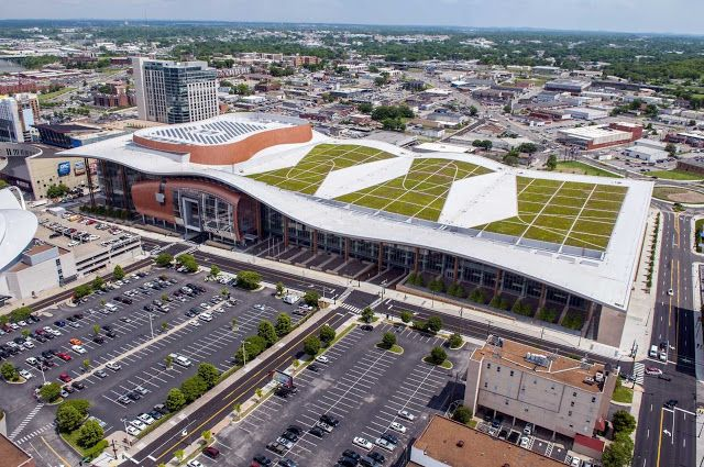 The environmentally friendly green roof atop Music City Center.