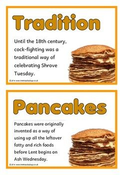 A set of 16 A5 printable fact cards that give fun and interesting facts about Pancake Day/ Shrove Tuesday/ Mardi Gras. Each fact appears with thematic piles of pancakes. A wonderful resource for discussing, displaying and activities! Visit our TpT store for more information and for other classroom display resources by clicking on the provided links.