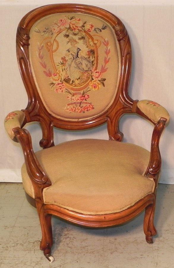 Victorian walnut gents chair w/ needlepoint back.