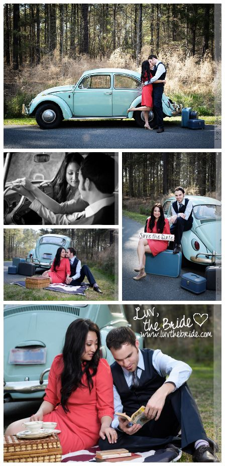 Luv, the Bride: Dorothy & David engagement shoot | Brian Mullins Photography | vintage car | Volkswagen Beetle | dogs