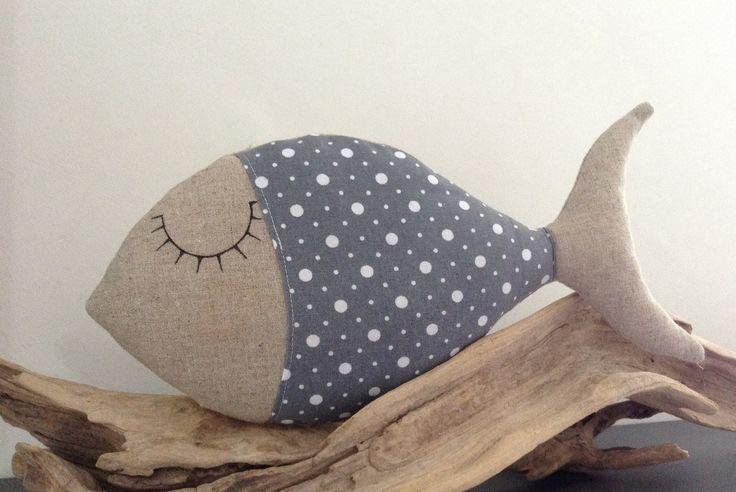 Coussin poisson dormeur tissu lin et coton pois gris et blanc : Textiles et tapis par lilihouat