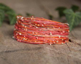 Colorful bracelet, Wife gift, Layered bracelet, Unique handmade jewelry, Boho bracelet,  Seed bead bracelet, Orange bracelet, Naryajewelry