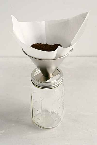 Pour-Over Mason Jar Coffee Attachment Stainless Steel   |   Urban Outfitters
