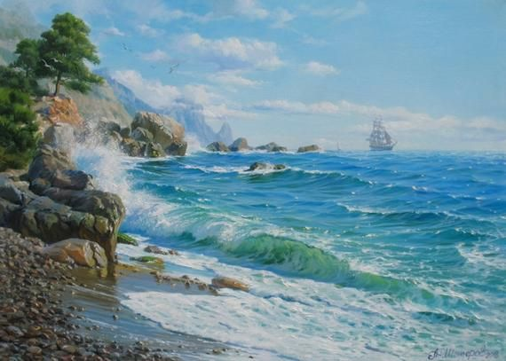 Seascape With Sail Ship Of Alexander Shenderov Ocean Art Sail Etsy Oil Painting Landscape Ocean Painting Seascape Paintings