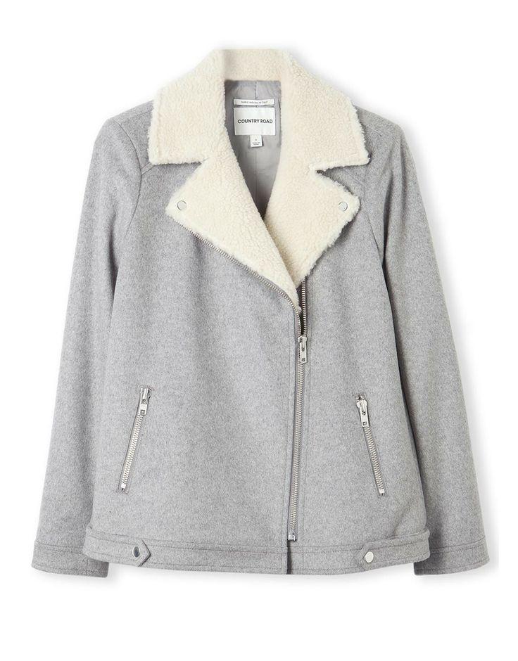 Faux Shearling Collar Jacket