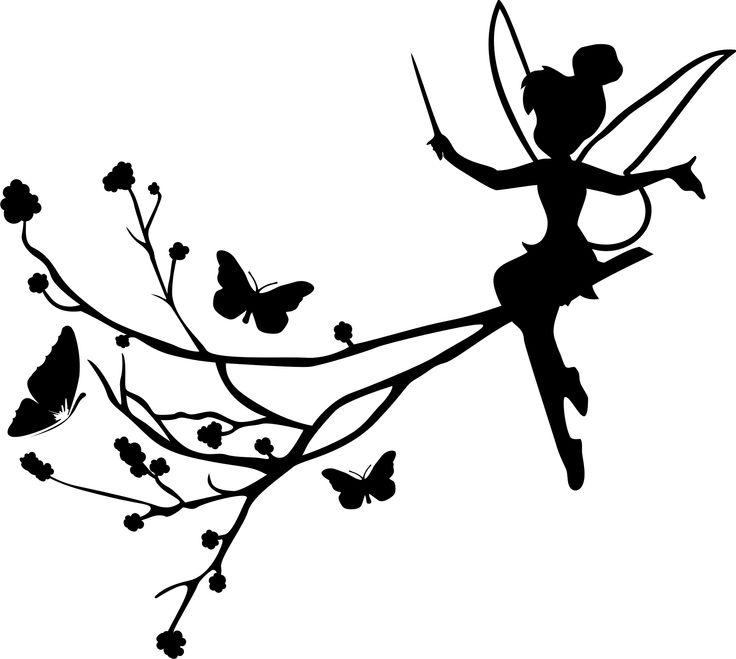 Cute Fee auf Schmetterlingsast Wandtattoo Wandsticker und Wandaufkleber deine wandtattoos de