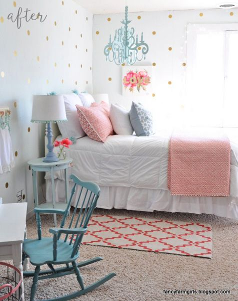 Coral-and-Gold-Girl-Bedroom.jpg (476×600)