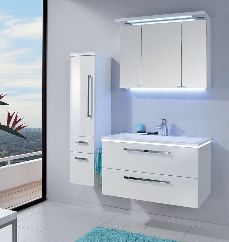 Puris Badmöbel STARLINE 06 Polarweiß Hochglanz 90 cm LED Spiegelschrank in Möbel & Wohnen, Möbel, Badmöbelsets | eBay