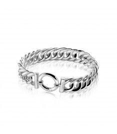 Zinzi zilveren brede gourmet armband 13mm breed 19,5cm ZIA834