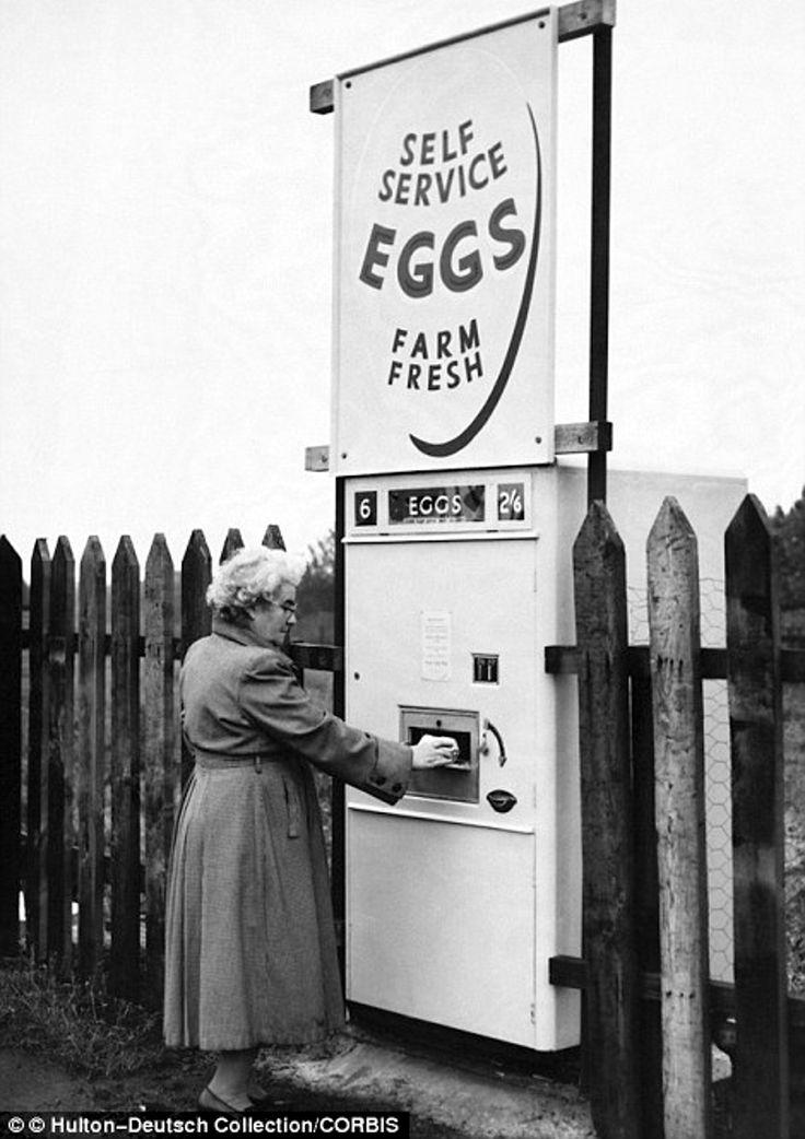 egg vending machines,  Britain, Derbyshire, 1963