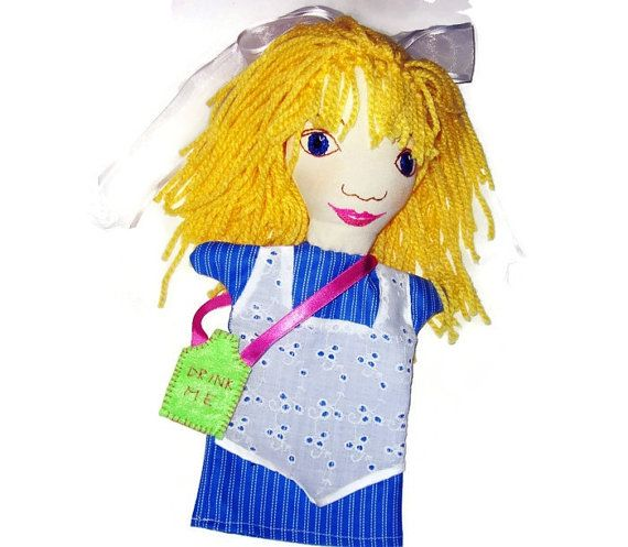 Alice in Wonderland Hand Puppet  One of a Set Custom by Meoneil