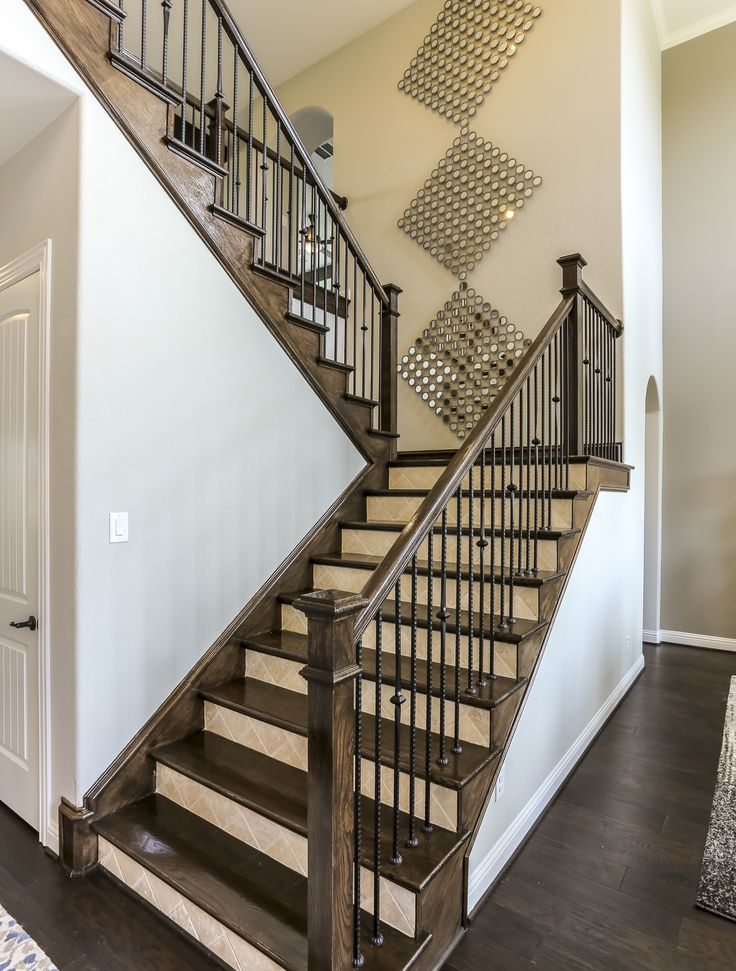 Gehan Homes Stairway - Dark Wooden Tread, Tiled Riser, U Shaped Staircase, Open Staircase, Dark Hardwood Flooring