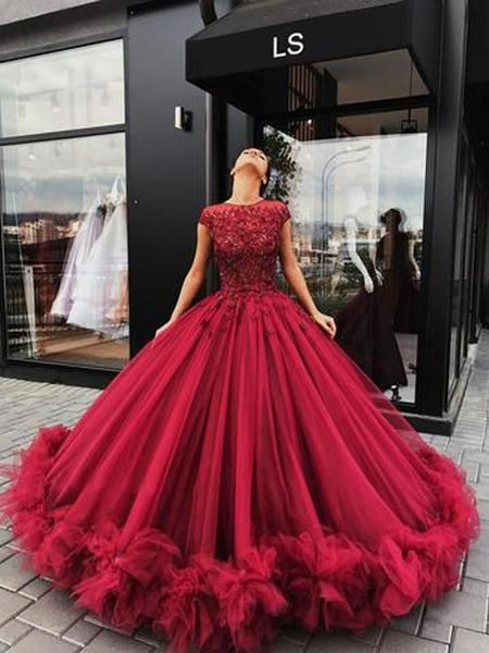 Luxurious Dark Red Lace Ball Gown Tulle Long Evening Prom Dresses ... 01db62d85986