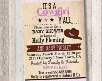 Cowgirl Baby Shower invitation vintage peach by myooakboutique
