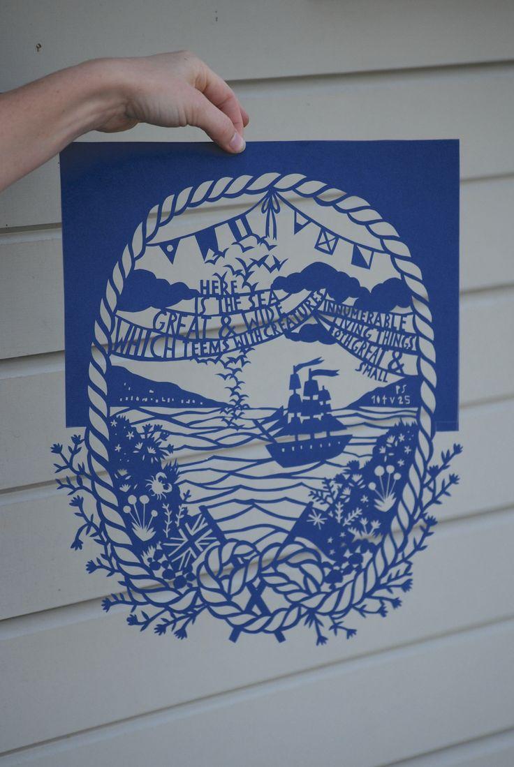 Thursday's Child custom papercut - sea theme