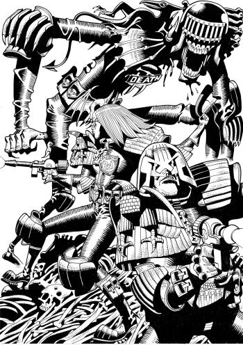 Judge Anderson, Judge Dredd, and Judge Death; mick mcmahon