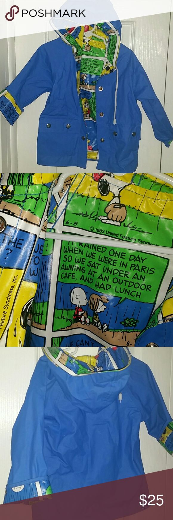2t raincoat with comic Snoopy interior like new! Very vibrant blue raincoat that has interior ,cuffs  and  Hood with all Snoopy comics from the eighties but this is a brand new item from within the last year. It doesn't have a tag with an H on it but I know that my son works at 2 years old and probably would still fit into it at 3 but it would be a little small Jackets & Coats Raincoats