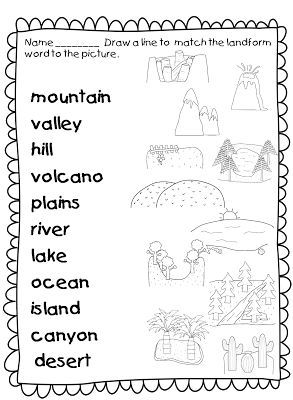 this landforms worksheets allows students to match the names of landforms with the correct. Black Bedroom Furniture Sets. Home Design Ideas