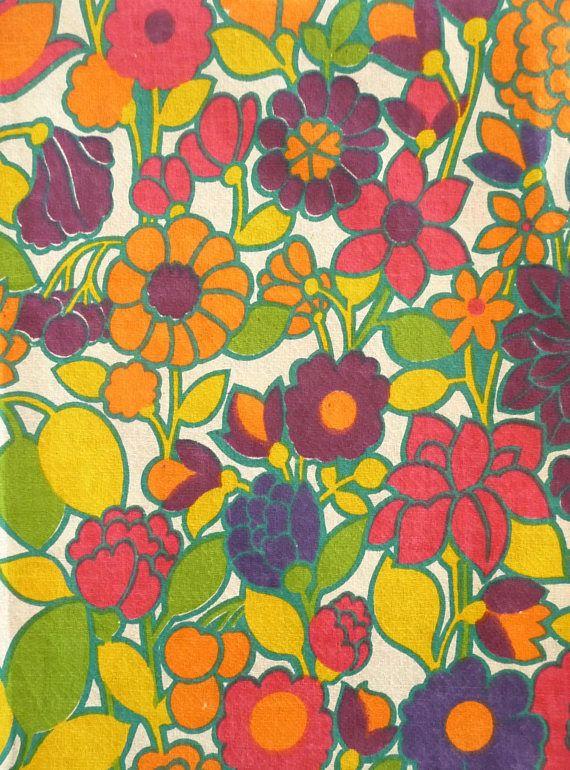 Floral Print Cotton Fabric Vintage New