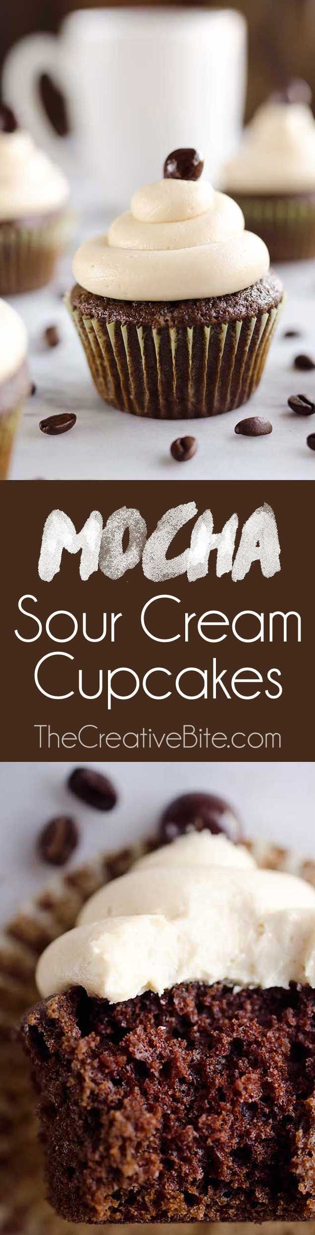 Mocha Sour Cream Cupcakes made with Dunkin' Donuts® Coffee are a rich and decadent chocolate cupcake topped with a mocha buttercream for a sweet treat perfect for any coffee lover! #DunkinToTheRescue
