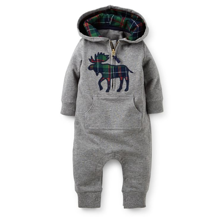 1-Piece Microfleece Jumpsuit | Carter's | Navy blue plaid moose applique on grey