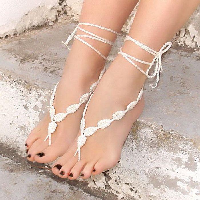 Hecho a mano de ganchillo taza de pie pulseras para el tobillo calcetines de las bandas de la novia vestido