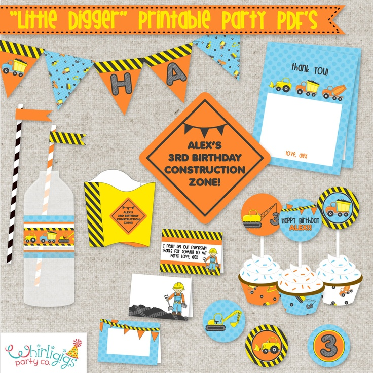 Construction Birthday Printable Kit Print a by whirligigspartyco